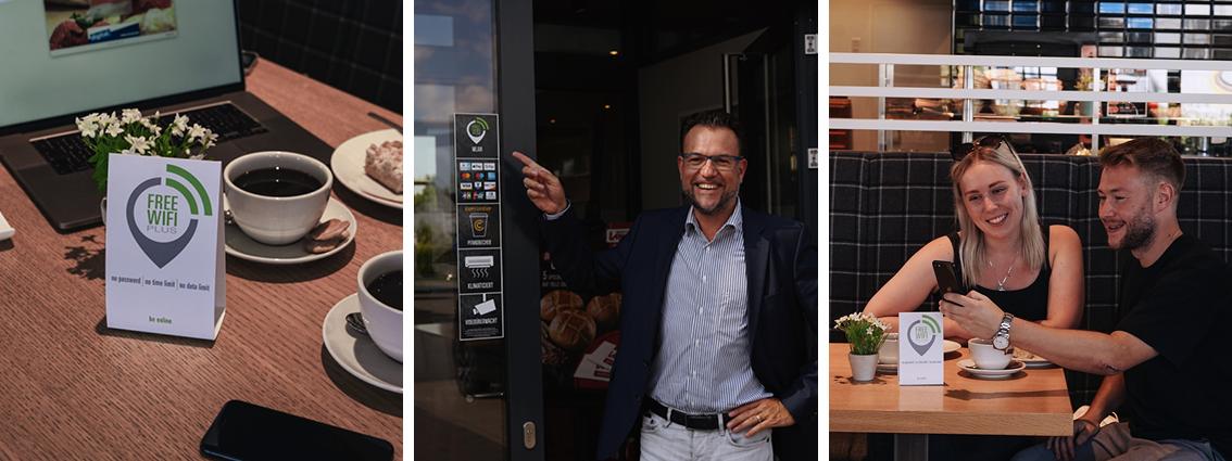 free.wifi.plus WLAN in der Bäckerei Lange. Von links: Marco Schlep-Richter, Kristina Tomics und Michel Sammrey
